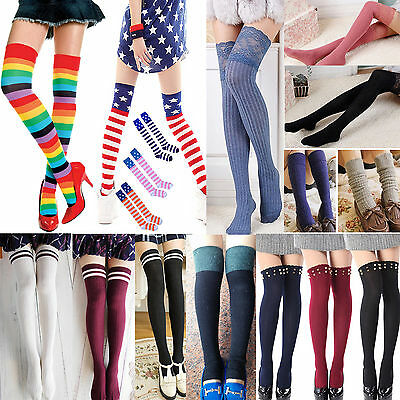 Newly Fashion Girls Women Thigh High OVER the KNEE Socks Long Cotton Stockings
