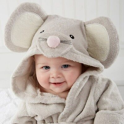 Taking Gray Mouse Baby Bath Hooded TERRY Towel Robe For Fun Bathtime Unisex