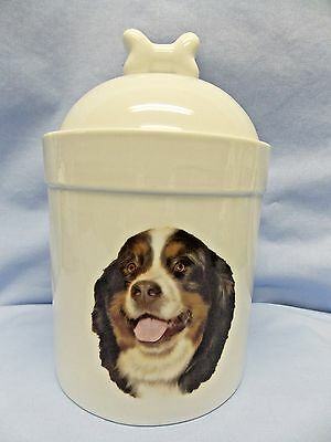 Bernese Mountain Dog Porcelain Treat Jar Fired Head Decal  8 In Tall