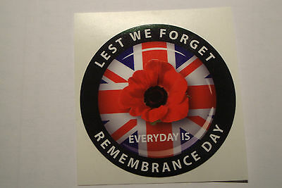 """REMEMBRANCE DAY  STICKERS   2 x RED POPPIES [ LEST WE FORGET]  3"""" appr"""