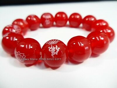 14mm big Feng Shui Jewelry Round Red Agate Bead Protection Buddha Lucky Bracelet