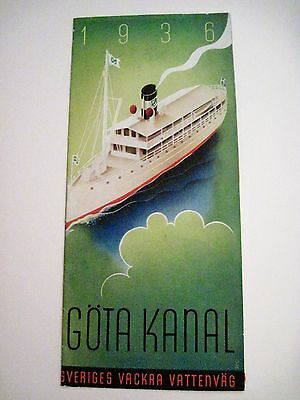 Vintage 1936 Sweden Travel Brochure w/ Art Deco Style Cover In Green & Blue*