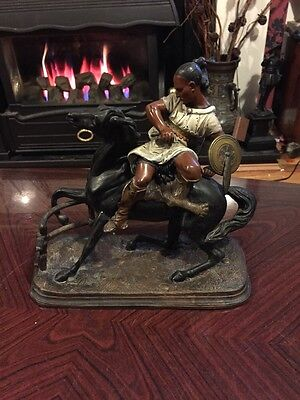 Amazing Antique Native American Spelter Figure - Rare And Fabulous!