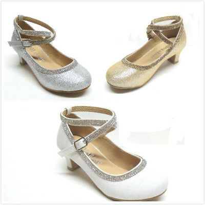 Brand New Girl's Fashion Heel Dress Shoes Size 9 - 5  White, Champagne & Silver
