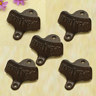 5x Cast Iron Vintage Rustic Style Collectable Wall Mounted Beer Bottle Opener