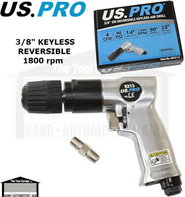 "BERGEN Tools 3/8"" Keyless Reversible Air Drill Chuckless NEW 8200"