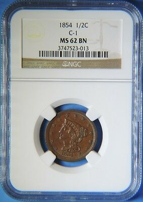 1854 Braided Hair Half Cent NGC Graded MS62 Uncirculated C-1 Cohen Type Coin