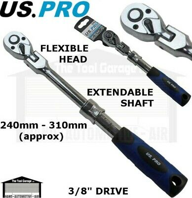 "US PRO 3//8/"" Flexi Flexible Extendable Socket Ratchet 72t 5162"