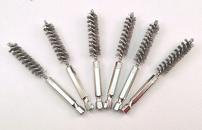 """6Pc 11Mm 4"""" Stainless Steel Hex Round Spiral Wire Tube Cleaning Brush Db1150S"""