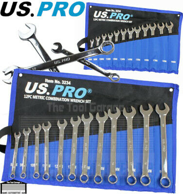 US PRO Tools 15pc Combination Spanner Wrench Set 7-21mm Spanners metric NEW 1878
