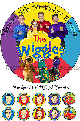 Wiggles Edible Cake Topper Party Decoration + 10 Cupcake Toppers PRECUT