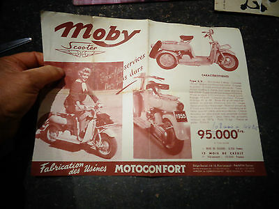 Ancien Catalogue Dépliant SCOOTER MOBY Motoconfort 1955