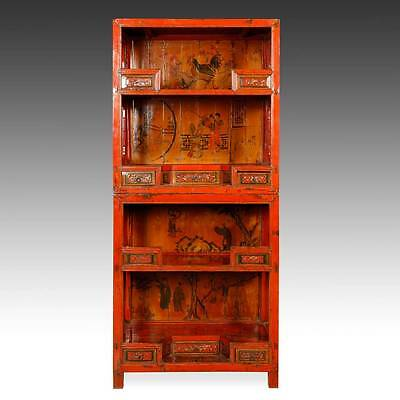Fine Antique Chinese Jiangxi Lacquered Elm Wood Book Case Cabinet China 19Th C