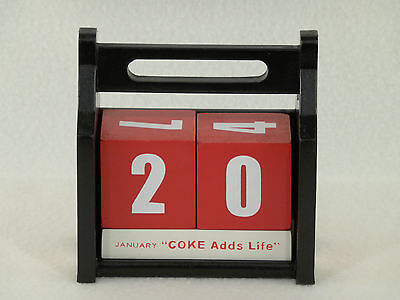 COKE Coca-Cola Sign Art Wood Block PERPETUAL CALENDAR