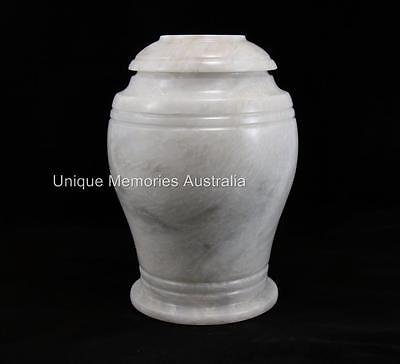 Genuine Solid Marble Classic White Design Adult Memorial Cremation Funeral Urn
