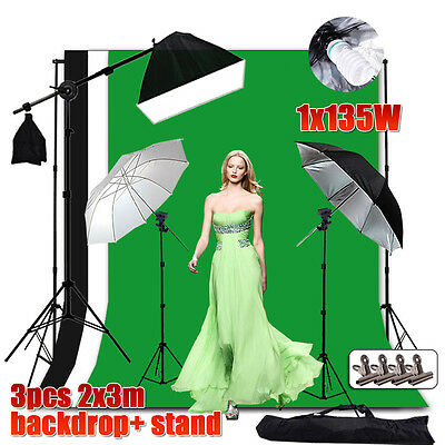 Photography Studio Softbox Umbrella Lighting Boom Light 2x3m Backdrop Stand Kit