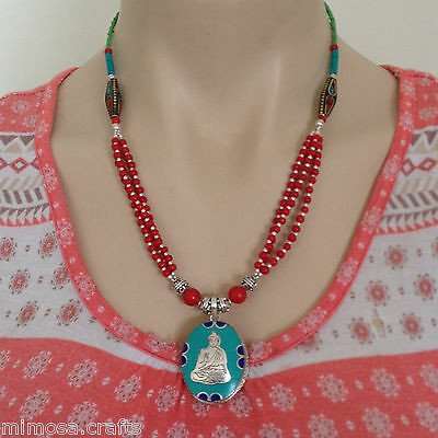 NL-137 Nepali Handmade Tibetan Ethnic Turquoise, Coral and White Metal Necklace