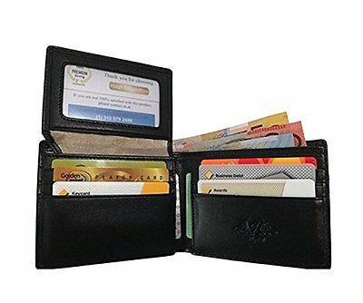 Mens Wallet Slim Black Leather RFID Credit Card Security Bifold New ID Window