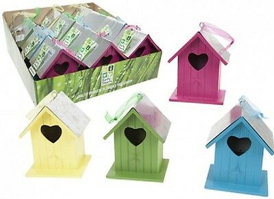 Wholesale-Resellers-12 X WOODEN PAINTED BIRDHOUSE  WITH TIN ROOF