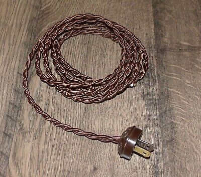 Prime Brown 8 Vintage Lamp Cord Twisted Cloth Covered W Acorn Plug Wiring Digital Resources Remcakbiperorg