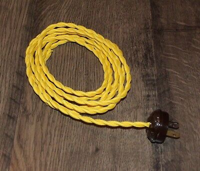 Fine Yellow 8 Vintage Lamp Cord Twisted Cloth Covered Wire W Acorn Wiring Digital Resources Remcakbiperorg