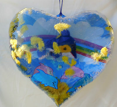 Heart Shape Inflate Blowup with Stuffed Dolphin Inside - Valentine Gift - Love