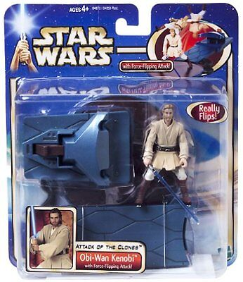 Star Wars Attack of the Clones Obi Wan Kenobi With Force Flipping Action NEW Toy