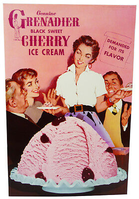 Vintage GRENADIER BLACK CHERRY Ice Cream POSTER (1960's) Display Advertising