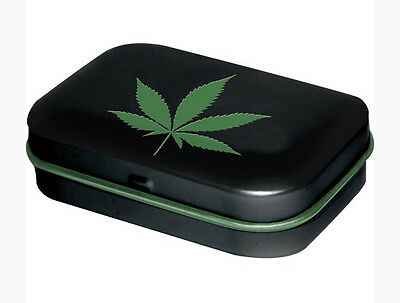 Retro Tin Metal Pill Box 'CANNABIS Leaf' Black filled with Mints 6 x 4cm - Weed