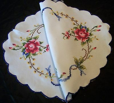 Vintage White Cotton Hand Embroidered Cross Stitch Roses