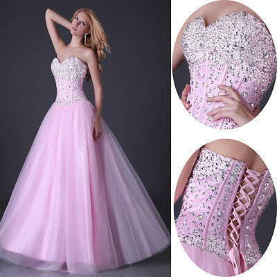 Women Beaded Homecoming Ball gown Wedding Formal Evening Prom Bridesmaid Dresses