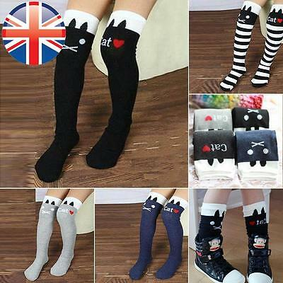 *UK Seller* Kids Girls Cute Fancy Cat Over The Knee High Socks