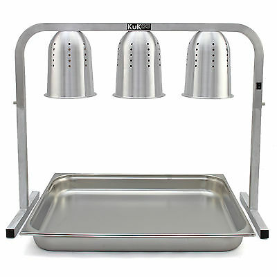 3 Food Heat Lamps Heated Carvery Display Buffet Warmer Hot Catering Server Unit