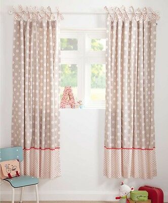 SALE!! BNWT MAMAS AND PAPAS PIXIE AND FINCH GIRLS SPOT CURTAINS SIZE 132 x 160