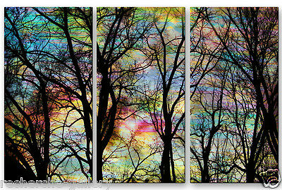 Metal Wall Art Hanging Contemporary Forest Trees Painting USA Made Home Decor