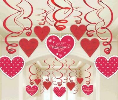 60 x Valentines Day Red & White Heart Swirl Decorations Value Pack