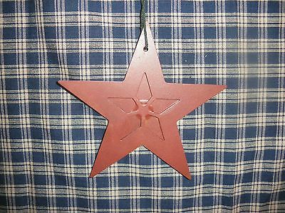 """Tin Star with Star Point Cutout in Middle that forms another Star Rusty Red  5"""""""