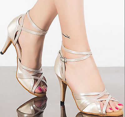 New Ladies Flesh Satin Latin Salsa Tango Bachata Open Toe Dance Shoes All Size