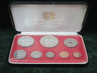 1975 First Coinage of Papua New Guinea Proof Set - 8 Coin Set