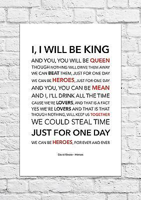 David Bowie - Heroes - Song Lyric Art Poster - A4 Size