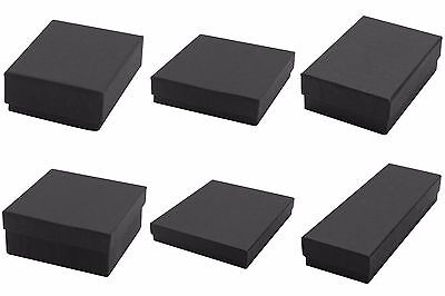 Lot of 100 Black Matte Kraft Cotton Fill Jewelry Gift Boxes Choose Size