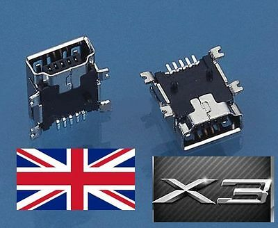 3 x 5-Pin Female Mini USB Type B SMT PCB Socket Connector TomTom GPS PSP