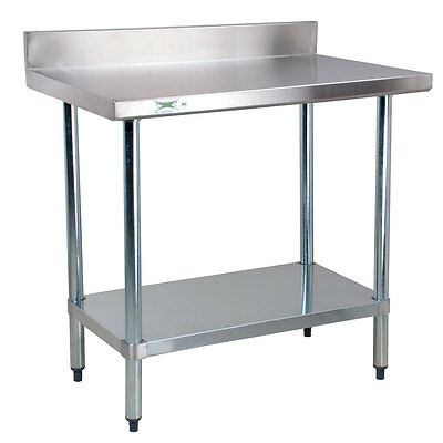 "Regency 24"" x 36"" Stainless Steel Commercial Work Prep Table with 4"" Backsplash"