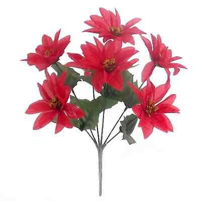 7 Headed Bunch - Poinsettia Bush Red - 10cm Wide Heads 7 Stems Per bunch.