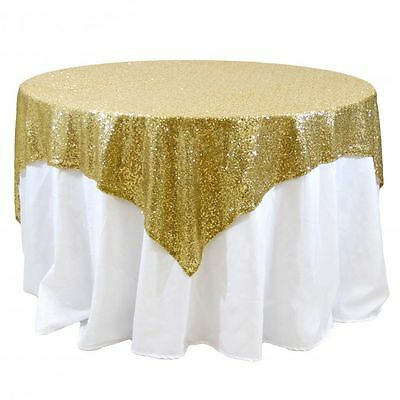 10 lot Sequin Table Overlay 54x54 inch Sparkly Tablecloth 3 COLORS Wedding Cake
