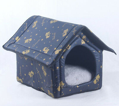 New Cute Black Gold Kitty Indoor Pet Dog Cat House Beds Kennel Tent Size M-XL