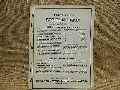 Evinrude Sportsman Model 4425 Parts List