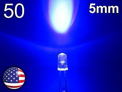 50pcs 5mm Blue SuperBright LED - Water Clear Round Lamp - Diode Light - DIY