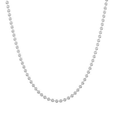 Sterling Silver Ball Bead Chain Necklace Genuine Solid 925 Silver 2mm Width Gift