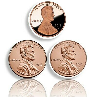 2016-S 1C Lincoln Shields Cents P,D,S Proof And P,D BU Brilliant Uncirculated